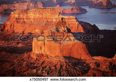 Picture of USA, Arizona, Lake Powell, buttes, aerial view.