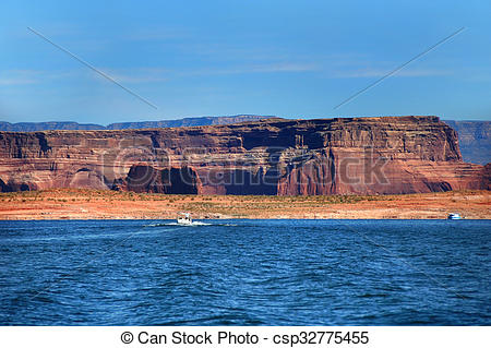 Stock Images of Houseboat on Lake Powell.