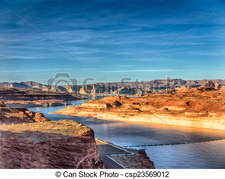 Clipart of Lake Powell in Page, Arizona USA.