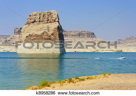 Stock Images of Lone Rock in Lake Powell, Page, AZ. k8958286.