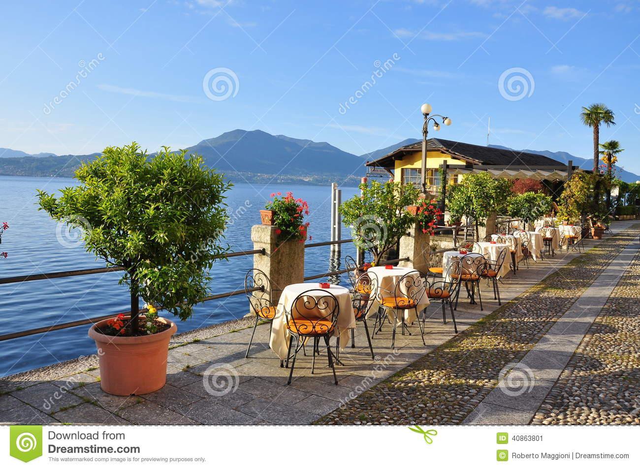 Italian Lakefront Promenade Cafe, Lago Maggiore Stock Photo.