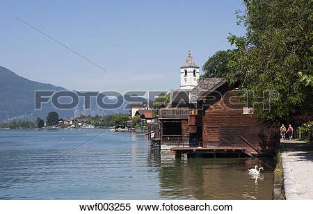 Stock Image of Austria, Salzkammergut, Salzburg State, Lake.