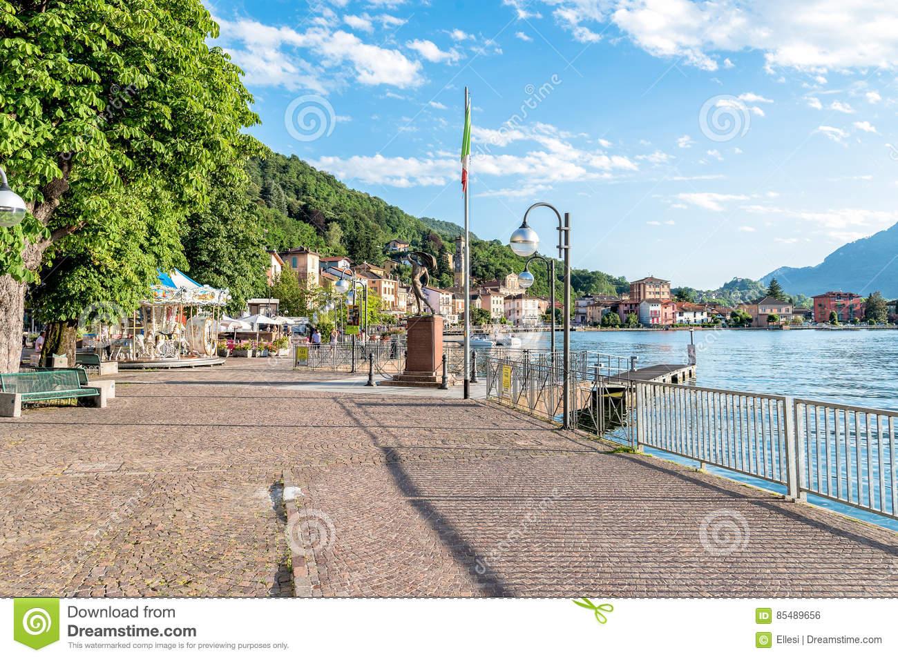 Lake Promenade Of Porto Ceresio, In The Province Of Varese On Lake.