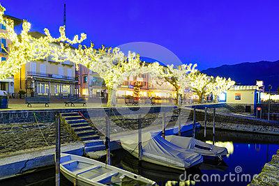 The Lake Promenade Piazza Mota, Ascona Editorial Stock Image.