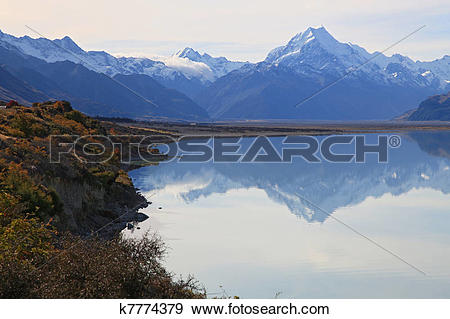 Stock Photograph of Mount cook of lake pukaki k7774379.