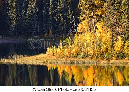 Stock Images of Water reflection at Jade Lake in Northern.