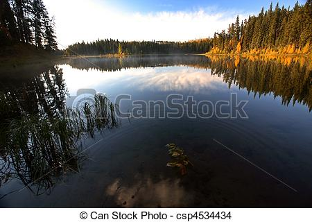 Stock Photo of Water reflection at Jade Lake in Northern.