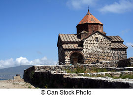 Picture of ancient armenian church on lake sevan armenia.