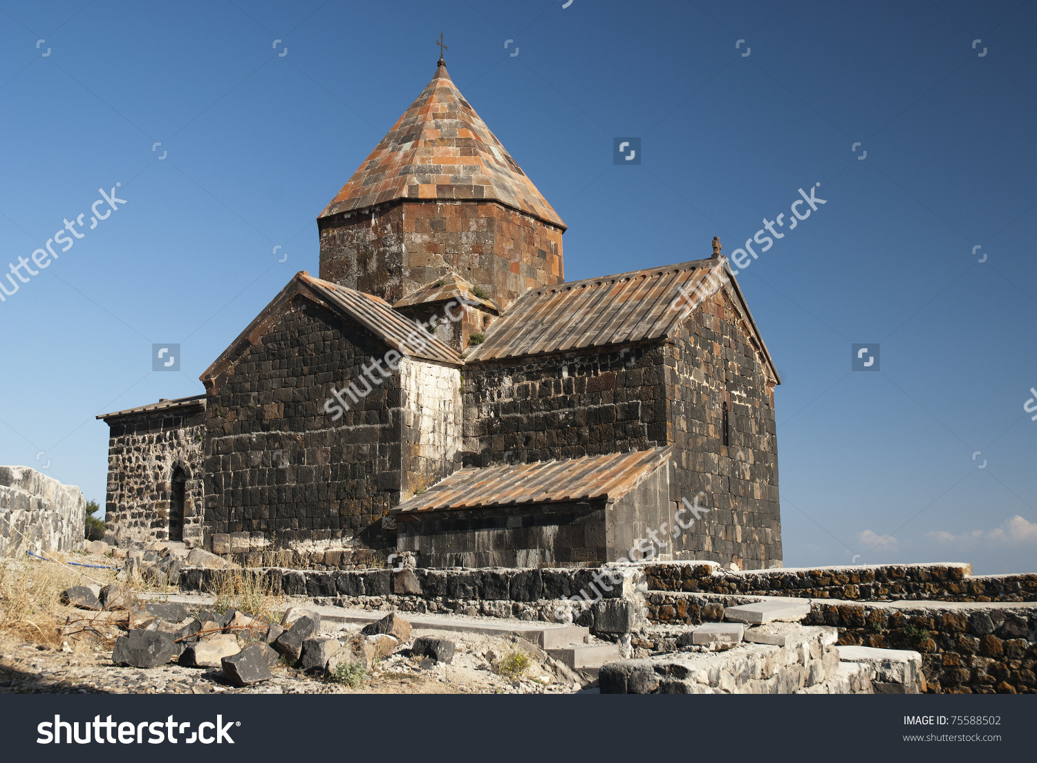 Ancient Armenian Church On Lake Sevan Armenia Stock Photo 75588502.