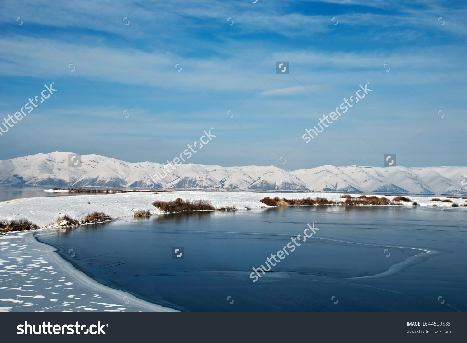 Highland Lake Sevan Armenia Winter Stock Photo 44509585.