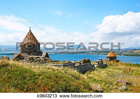 Stock Photo of Seagull on lake Sevan k9843213.