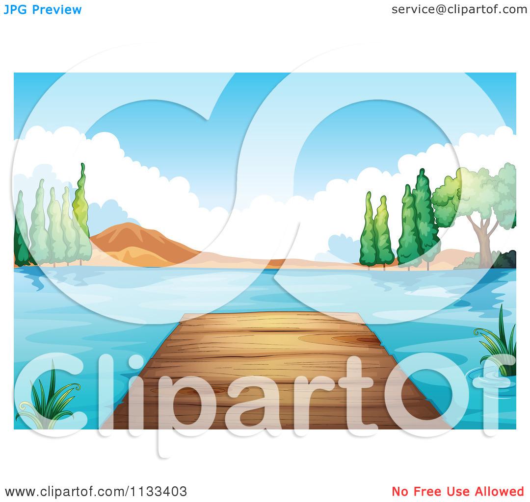 Cartoon Of A Dock On A Lake Shore 1.