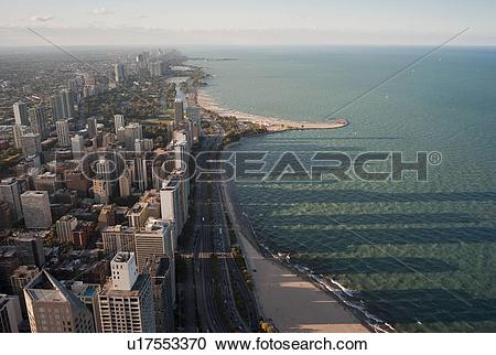 Stock Photography of Aerial view of Chicago, Lake Shore Drive and.