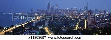 Picture of This is the skyline with Lake Michigan and Lake Shore.