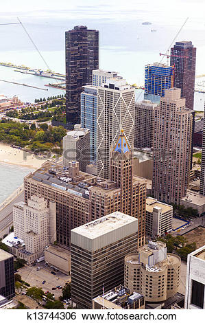 Stock Images of Chicago Lake Shore Drive Aerial View k13744306.