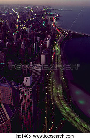 Stock Image of Lake Shore Drive in Chicago at sunset as seen from.