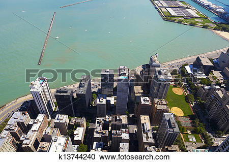 Stock Photography of Chicago Lake Shore Drive Aerial View.