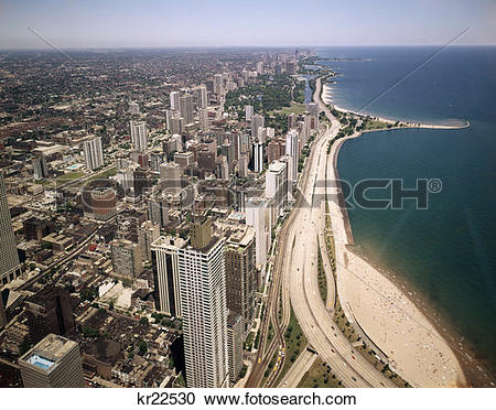 Stock Photography of 1970 1970S Aerial View Look North Along Lake.