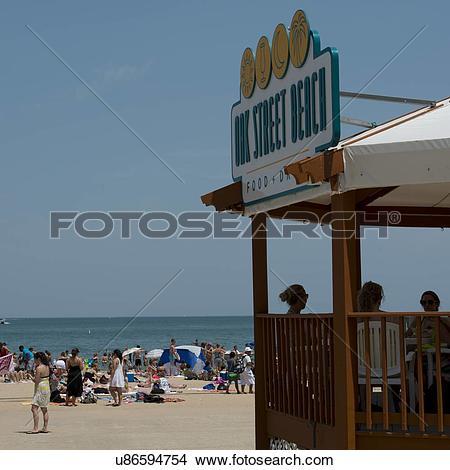 Stock Photo of Tourists on the Oak Street Beach, Lake Shore Drive.