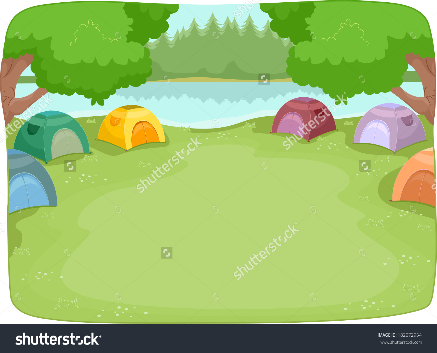 Illustration Of A Lakeside Camp Site Filled With Colorful Camping.