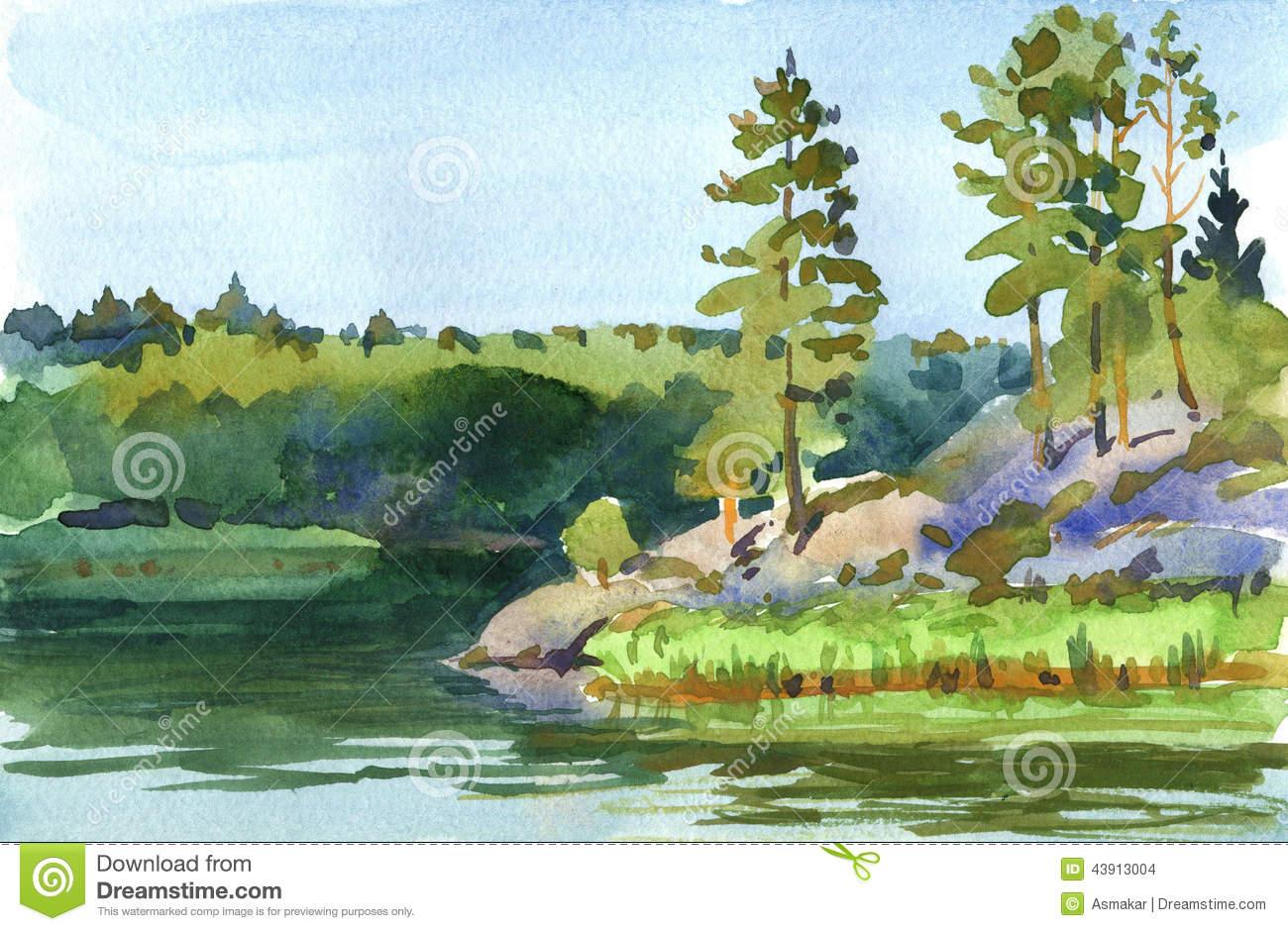Lakeside Stock Illustration.
