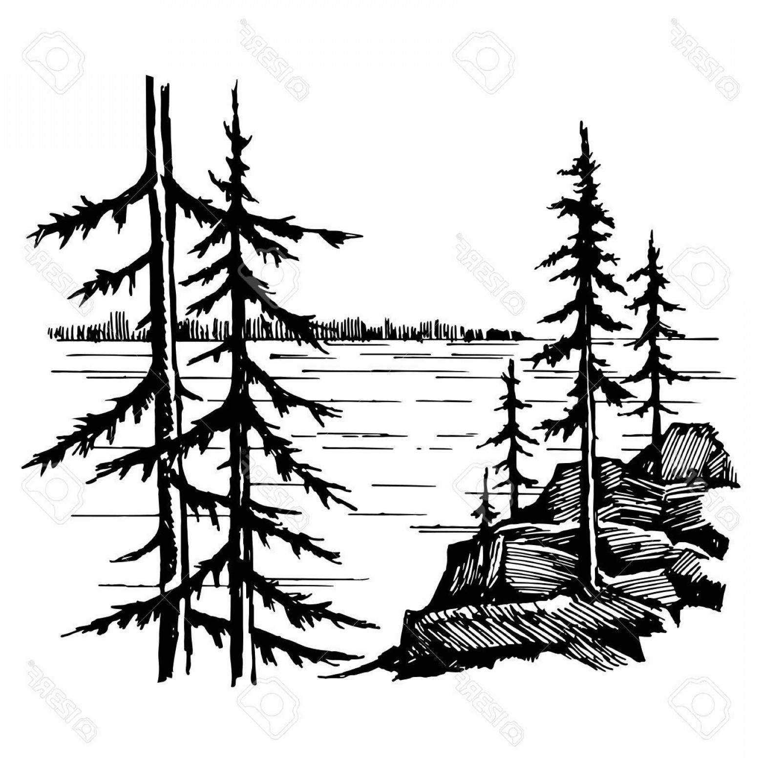 Lake And Tree Line Silhouette Vector.