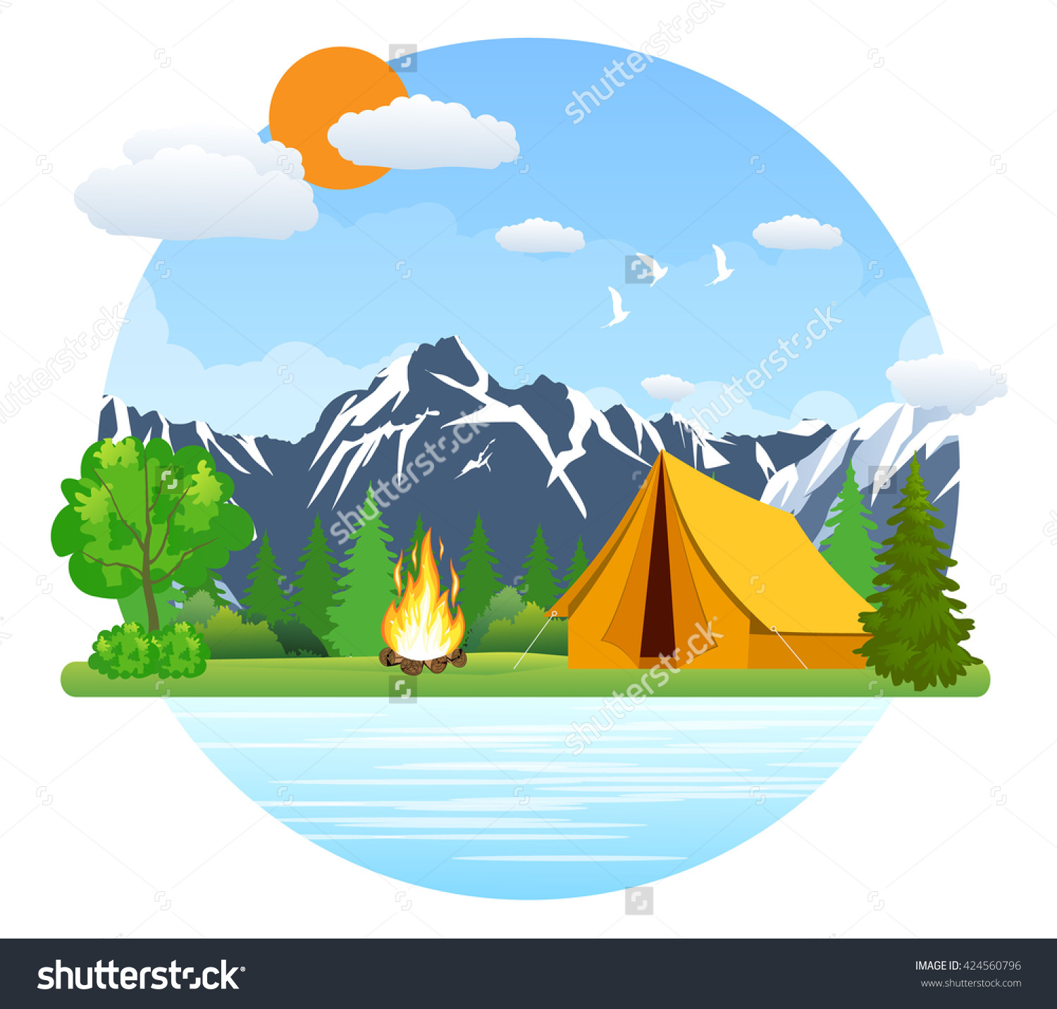 Summer Landscape: Tent And Bonfire In Mountains Near Lake.