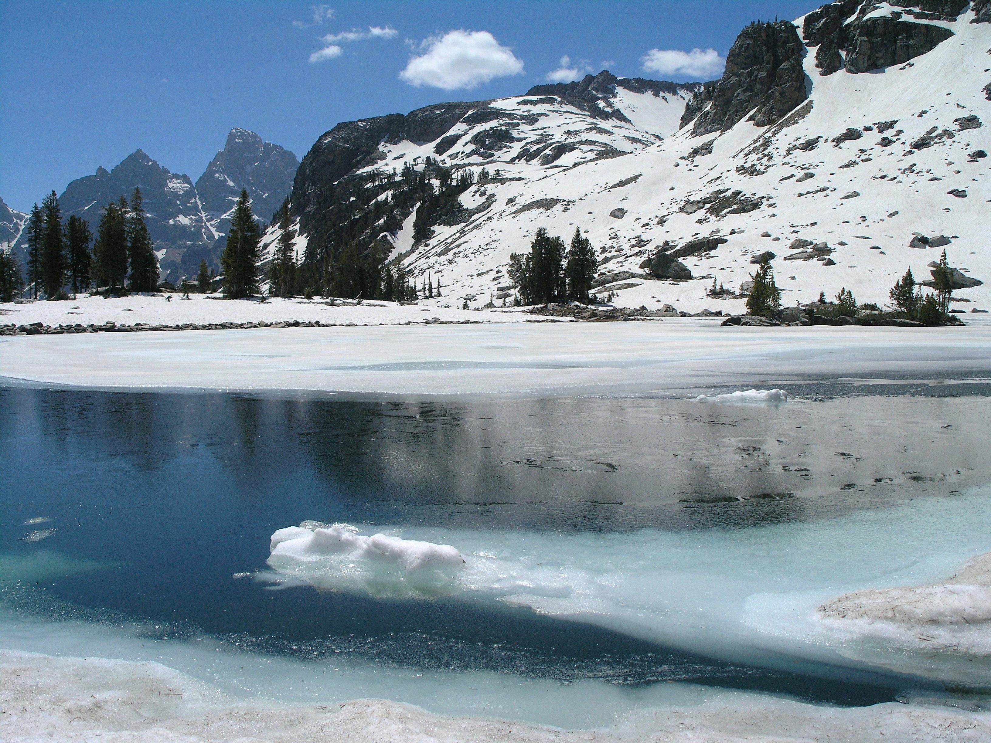 Lake Solitude landscape in winter in Grand Teton National Park.