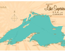 Lake superior map clipart.