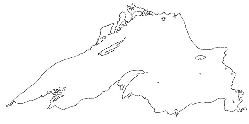 Shoreline map of Lake Superior.