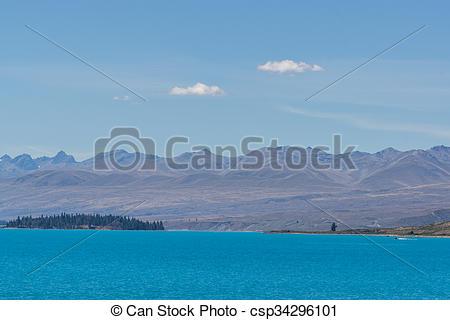 Stock Photography of lake tekapo open view taken during summer in.