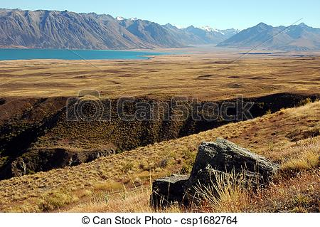 Stock Photo of Rock and ravine at Lake Tekapo in the Mackenzie.