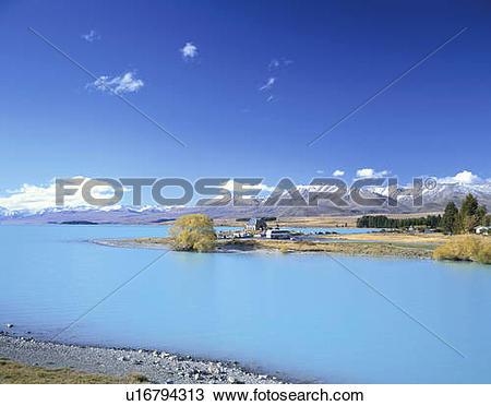 Stock Photo of Lake Tekapo and Church of the Good Shepherd, New.