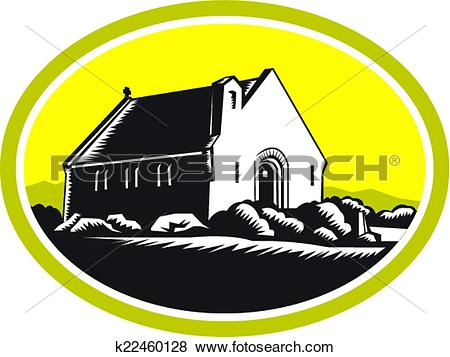 Clip Art of Church of Good Shepherd Lake Tekapo Retro k22460128.