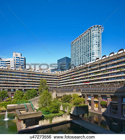 Stock Images of England, London, Barbican. Lake and terrace blocks.
