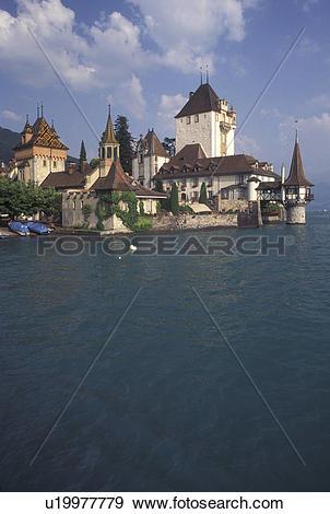 Stock Photograph of castle, Switzerland, Berne, Bern, Thunersee.