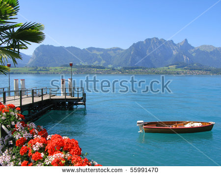 Lake Thun Stock Photos, Royalty.