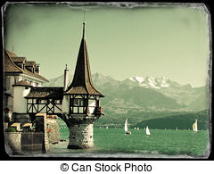 Stock Photo of Old mansion in Oberhofen at the lake Thun.