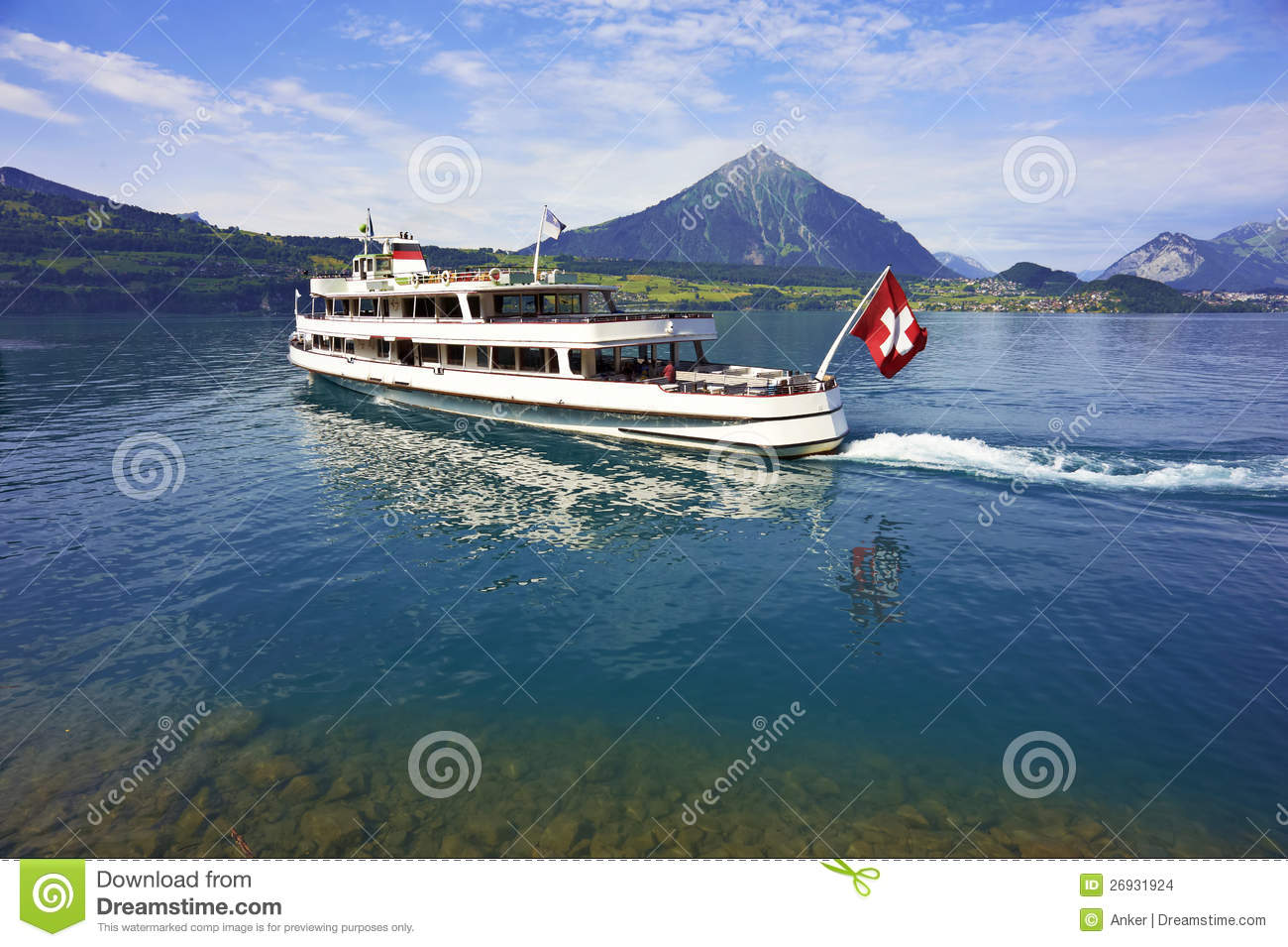 Passenger Boat, Lake Thun, Switzerland Stock Images.
