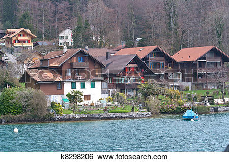 Stock Images of vintage town landscape around lake Thun.