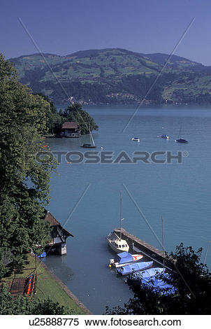 Stock Image of Switzerland, Spiez, Berne, Bern, Thunersee, Scenic.