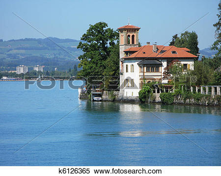 Stock Image of Old mansion in Oberhofen at the lake Thun.