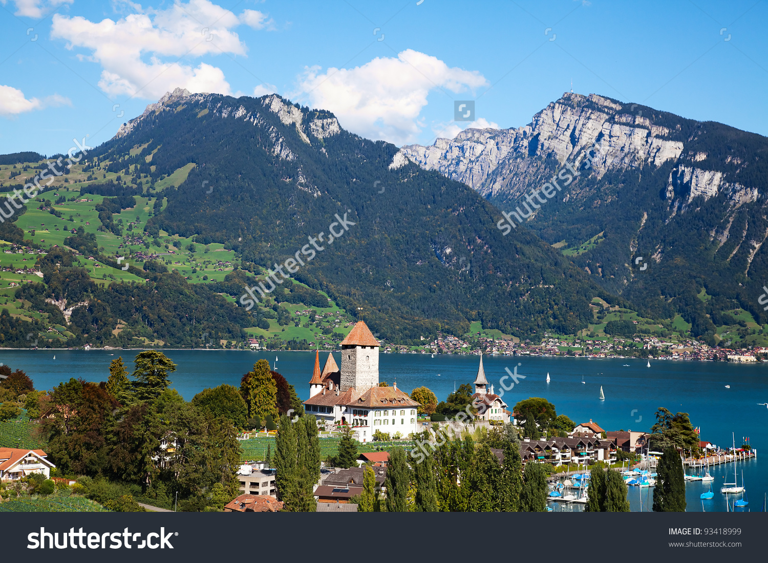 Spiez Castle On Lake Thun Jungfrau Stock Photo 93418999.