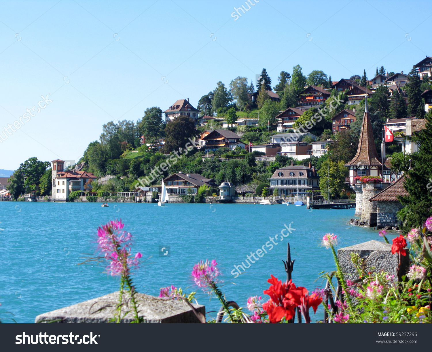 Lake Thun Switzerland Stock Photo 59237296.