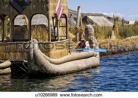 Stock Photograph of Lake Titicaca: islands of Uros with man in.