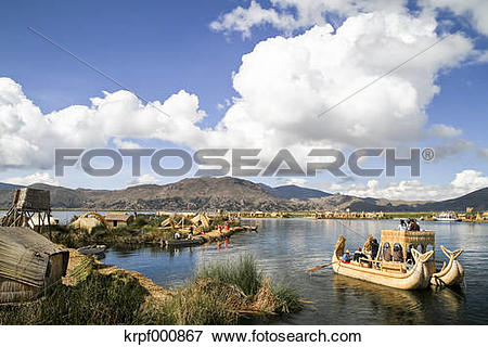Picture of South America, Peru, Uros people living on the floating.