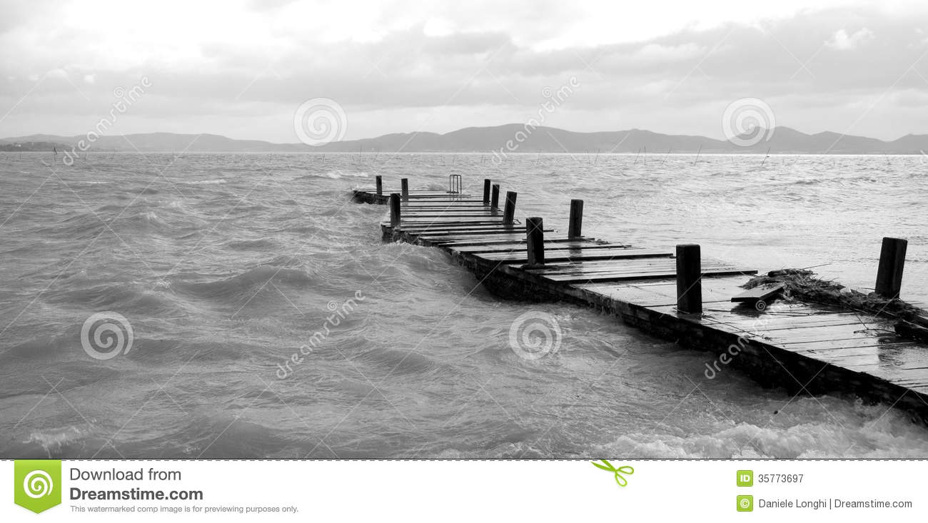 Pier Go Into Water Royalty Free Stock Photography.