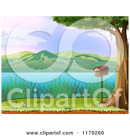 Cartoon of a Mailbox Under a Tree with a Lake View.