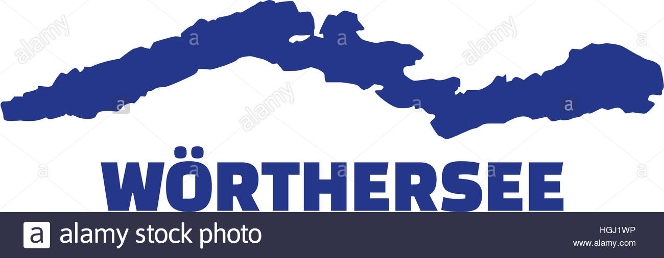 Lake Wörth Silhouette With Name Stock Photo, Royalty Free Image.