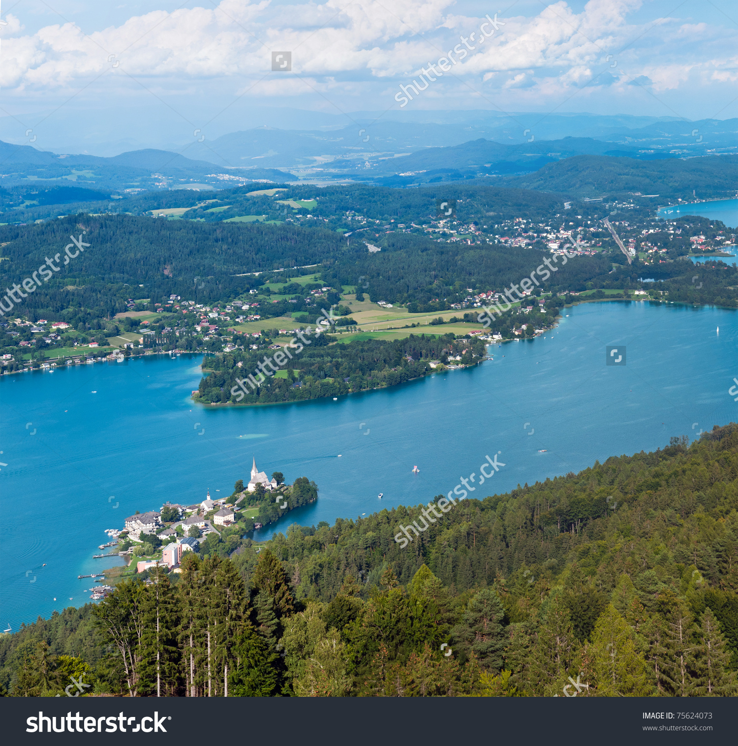Panorama Of Lake Worthersee, Bird'S.